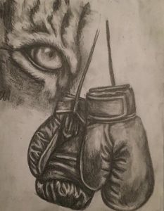 Braving in the Arena, graphite pencil drawing by Christina Papaleo