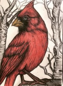 Never Far from Love, a colored pencil drawing by Christina Papaleo.