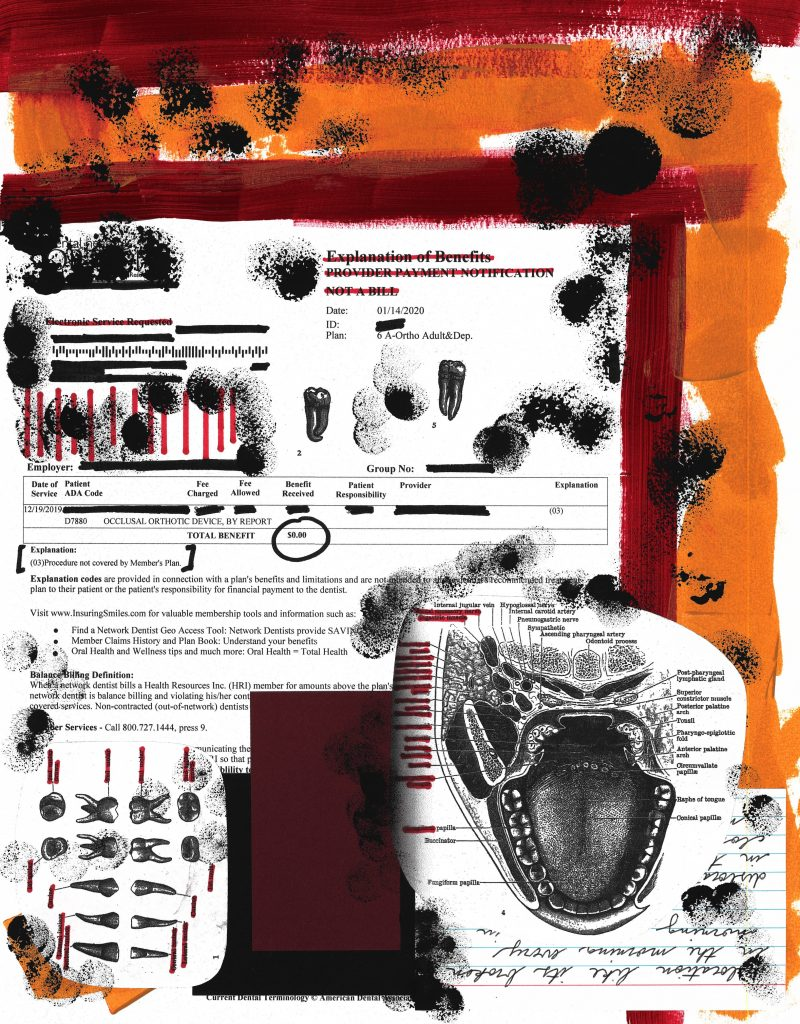 A collage with a yellow and red background, black and white images of mouths and teeth, and a redacted insurance form stating that the patient has been denied dental coverage