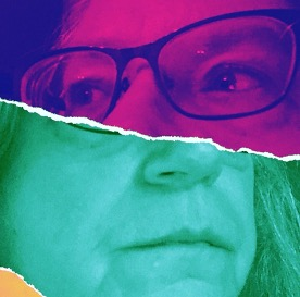 Stylized filtered photograph of the author with bright fuchsia and purple, and light green in a split screen with paper torn into opposite facing images; the top half features the authors eyes and glasses facing their right looking off screen, and the bottom half with the nose and mouth, facing their left with an unsmiling mouth.