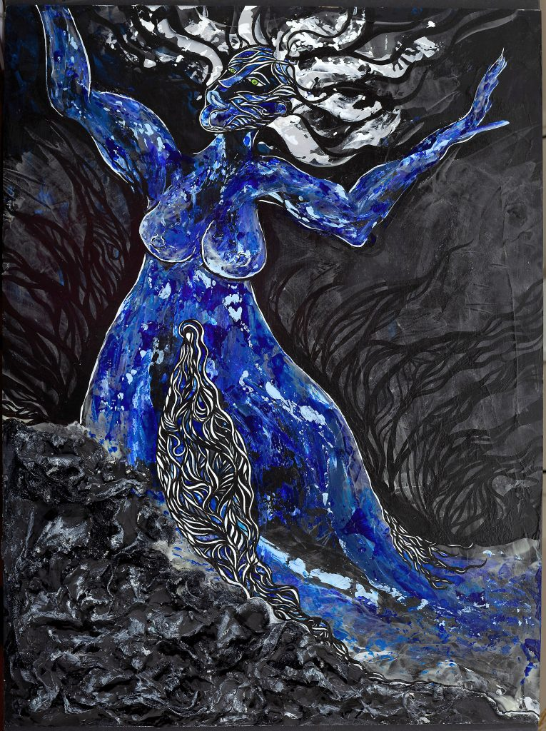 A photograph of a painting on a 3'x2' wooden board. The background is black with translucent paint that glows pale green in the dark, showing an outline of a woman's image and splashing water. In daylight, the image is the curvy, loosely-lined form of a woman rising above black and silver plaster and tulle forms on the bottom of the canvas; the forms at the bottom of the canvas resemble craggy seaside rocks at night. Her arms are spread out above her and her white/silver hair frames her face. The woman has full, bare breasts and rounded hips that extend like a floor-length dress that just keeps going. Split down the middle is an abstract vulva, exaggerated in size and filled with curvy black and white line designs. These designs trickle off and down into the rocks and off the frame.