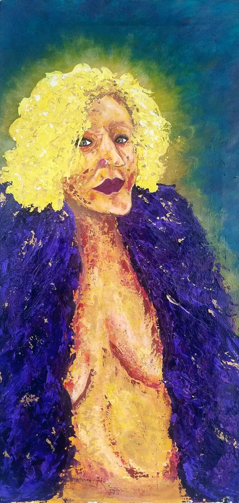 Photo of a painted self portrait of the artist. The portrait is painted predominantly with knives, offering much texture and many layers of paint. Picturing from her head to her hip, the artist invited herself to take up most of the canvas. The portrait is of a woman with bright curly yellow hair and deep rose lips. Her head is turned slightly to the left and there is a glow that emanates from behind her into the deep blue background. Her nose is long and angular and her eyes a shimmery hazel green. Her torso is nude with a large textured fabric about her shoulders covering most of her breasts. The curve of underboob and belly framed in the deep purples and with flecks of gold of her boa. Her face is serene with an intense gaze.