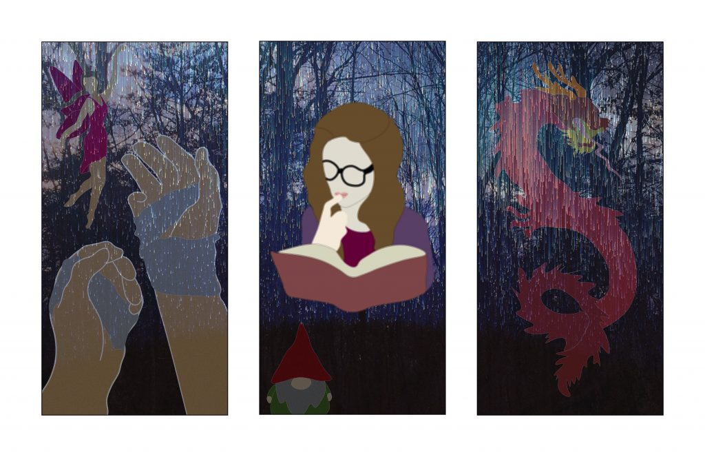 This art piece depicts a young girl reading with her hand to her face, immersed in the story. There is a sheet of rain behind her, in front of all of the other characters. This is to symbolize that while the characters seem real, they are in a different realm. The rain creates this affect. The other characters consist of a fairy, a gnome, a dragon, and two bandaged hands.