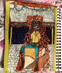 The Monster Guy: This is my original character, Bark. I'm not sure what exactly he is, myself. All I know is I draw him sometimes and drawing him is oddly cathartic. I kind of envision him as a being who represents all the aspects of humanity that are usually destructive but flipped around to be constructive when he practices them. I'm not sure how to explain it more as I've never created a background for him. He has light gray skin with burns and cuts; his eyes are deep sockets filled with multiple eyes. He has a human thumb nailed to his forehead. He has a crack in his skull; you can see his brains through it. From his exposed brain sprouts a long cluster of exposed neurons and small veins. Attached to these there are some more eyes scattered about. He has spikes growing from his lower half of his arms and the lower half of his legs. They are technically bone spurs, but they're very large and smooth. Still pointy though. Like the teeth of a gigantic tiger. His lips are a slightly darker grey. He has rows of sharp teeth. A long pointed tongue. He is modeling a design of mine and I drew him as a model at a photo shoot.
